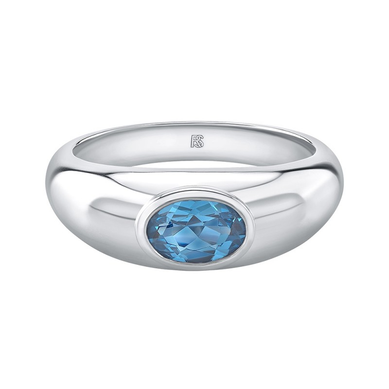 14k White Gold Bezel Set Blue Topaz Dome Ring