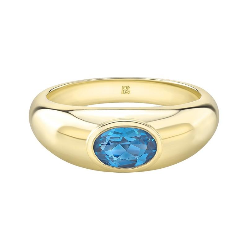 14k Yellow Gold Bezel Set Blue Topaz Dome Ring