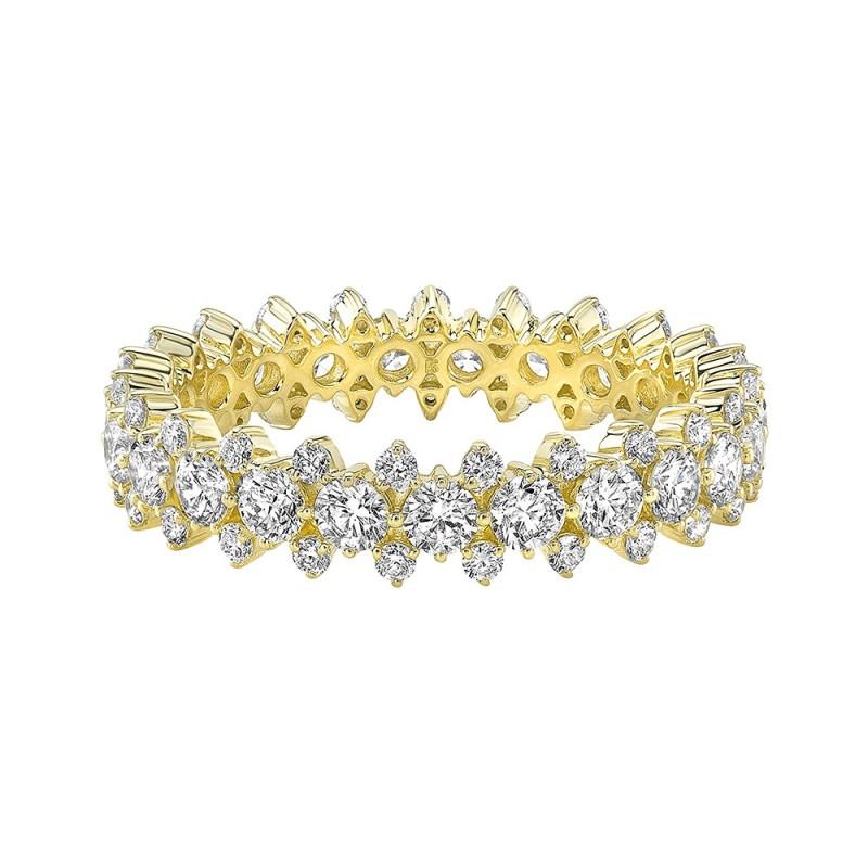 14k Yellow Gold Diamond 3 Row Prong Set Eternity Band