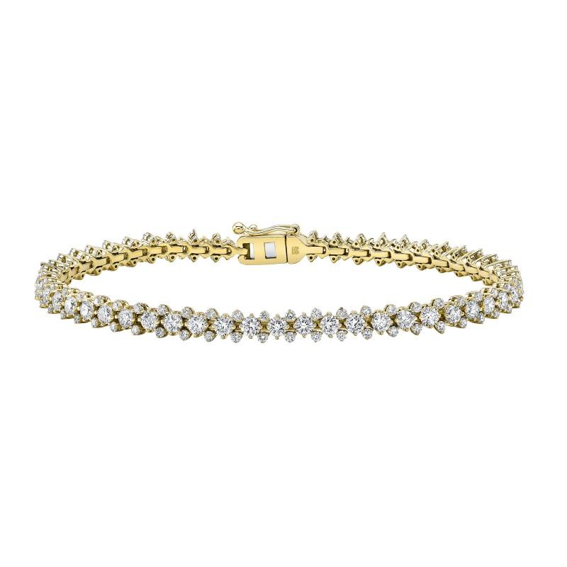 14k Yellow Gold Diamond 3 Row Prong Set Tennis Bracelet