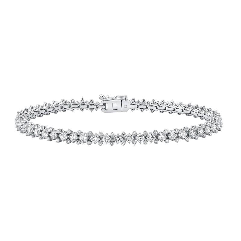 14k White Gold Diamond 3 Row Prong Set Tennis Bracelet