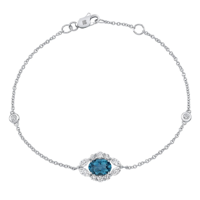 14k White Gold Diamond and Blue Topaz Oval Evil Eye Bracelet