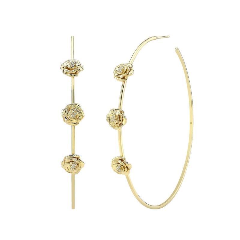 "14k Yellow Gold 2.5"" Diamond Rose Hoop Earrings"