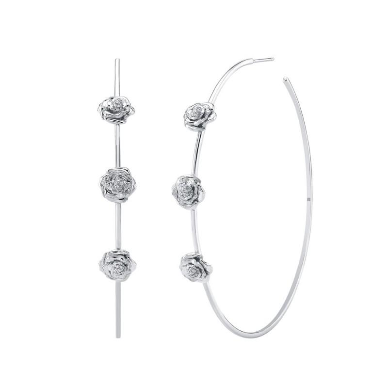 """14k White Gold 2.5"""" Diamond Rose Hoop Earrings"""