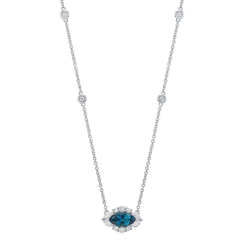 14k White Gold Diamond and Blue Topaz Marquise Evil Eye Necklace