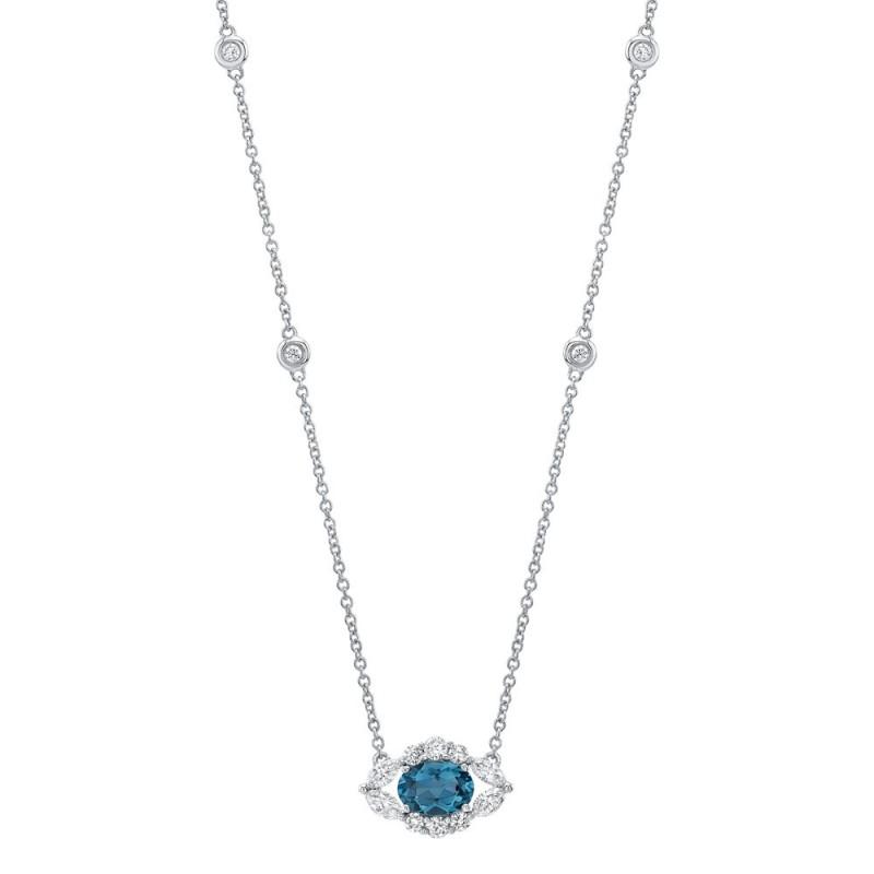 14k White Gold Diamond and Blue Topaz Oval Evil Eye Necklace