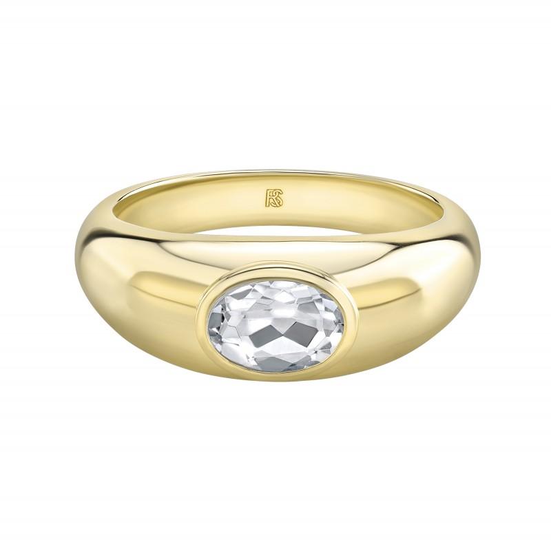 14k Yellow Gold Bezel Set Gold White Topaz Dome Ring