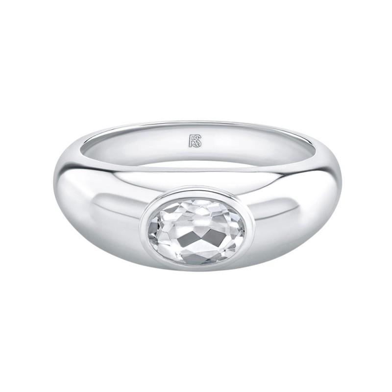 14k White Gold Bezel Set White Topaz Dome Ring