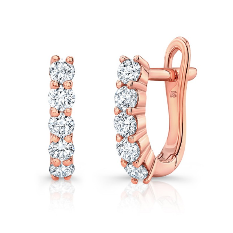 14k Rose Gold Diamond Eternity Huggie Hoops