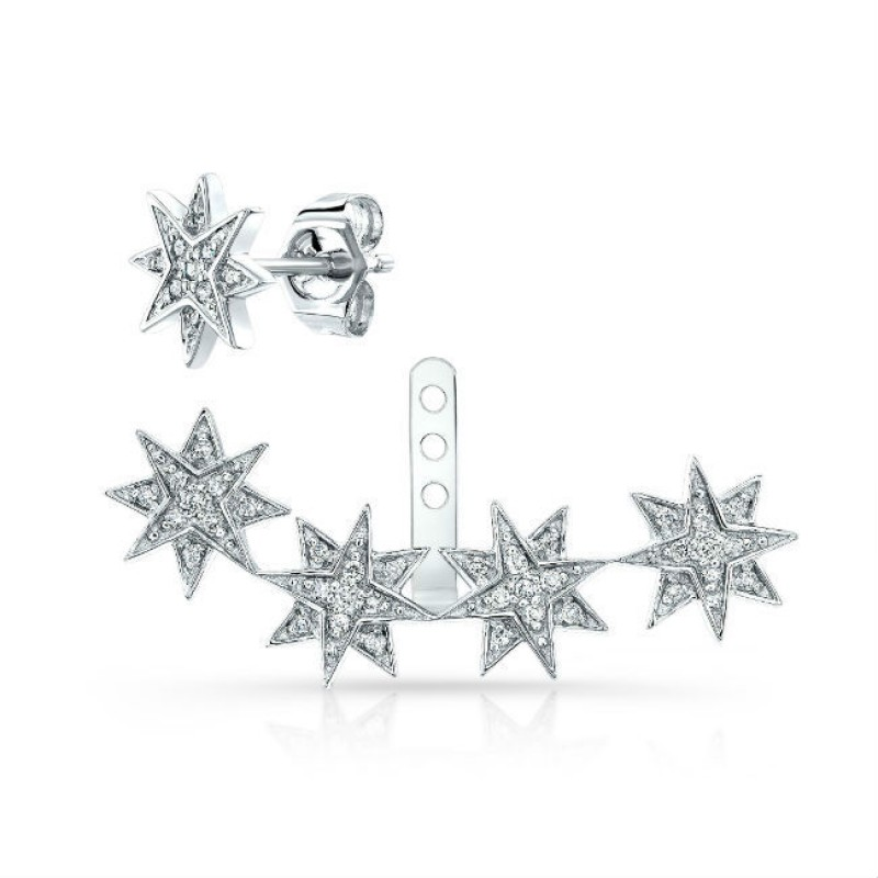 14k White Gold Diamond Starburst Ear Jacket