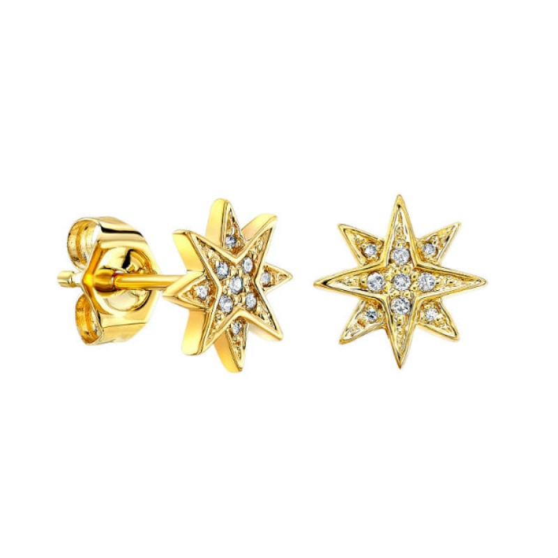 14k Yellow Gold Diamond Starburst Stud Earrings