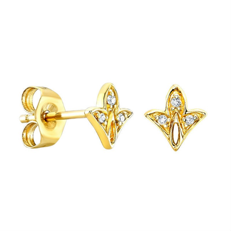 14k Yellow Gold Diamond Mini Leaf Stud Earrings
