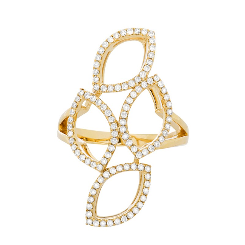 14k Yellow Gold Diamond Stacked Marquise Ring