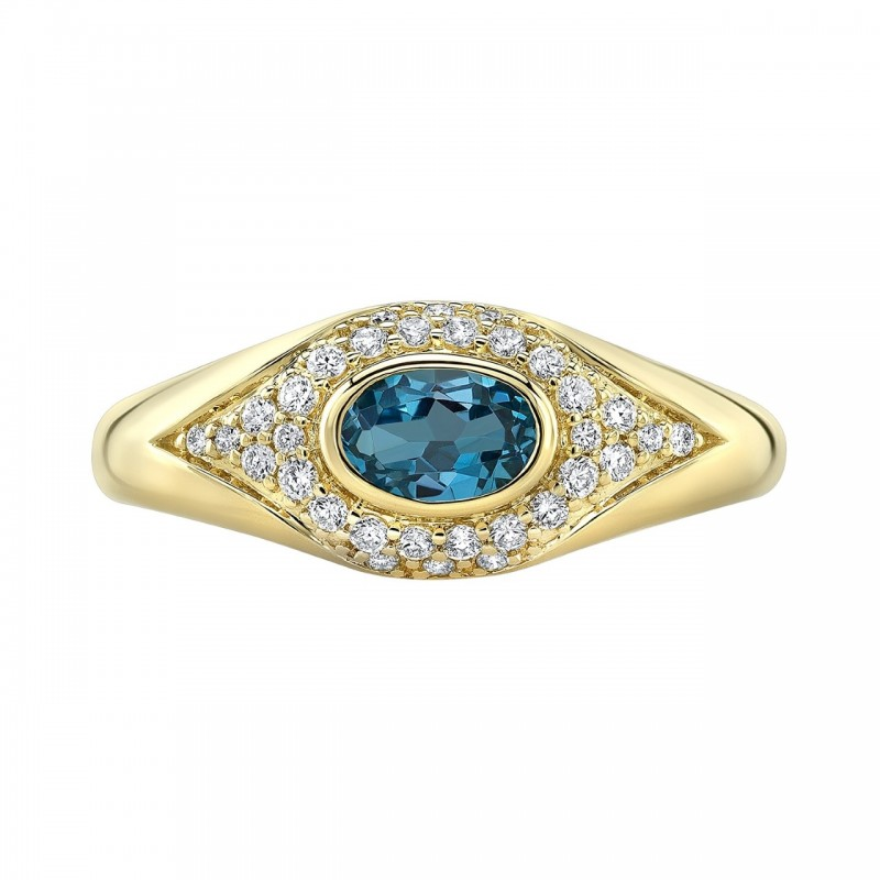 14k Yellow Gold Diamond Blue Topaz Evil Eye Dome Ring