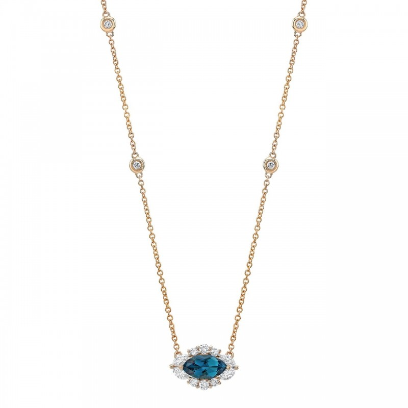 14k Rose Gold Diamond and Blue Topaz Marquise Evil Eye Necklace