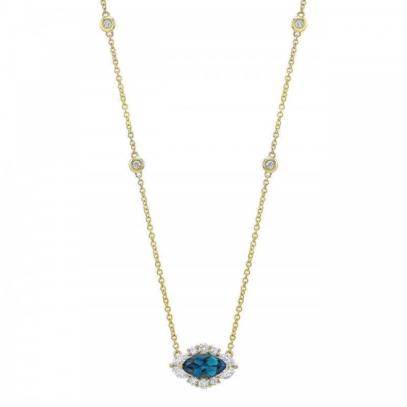 14k Yellow Gold Diamond and Blue Topaz Marquise Evil Eye Necklace