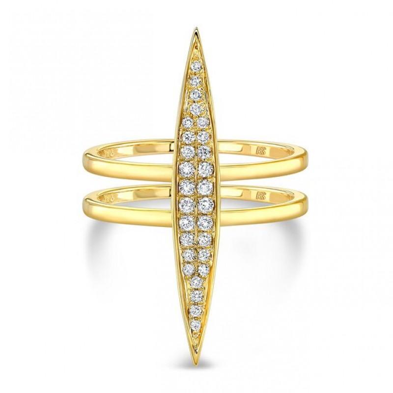 14k Yellow Gold Pave Diamond Marquise Bar Ring