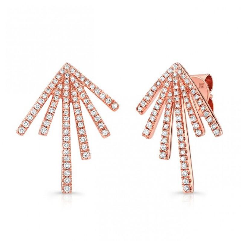 14k Rose Gold Diamond Spike Burst Earrings
