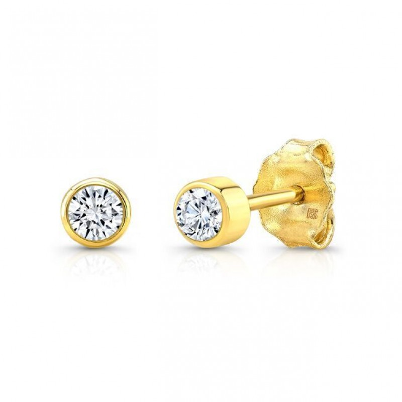 in earrings yellow gold set diamond bezel pushbacks o with cut stud majesty y solitaire bijoux round