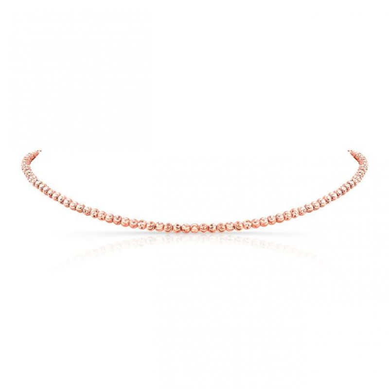 14k Kids Rose Gold Diamond Cut Bead Necklace