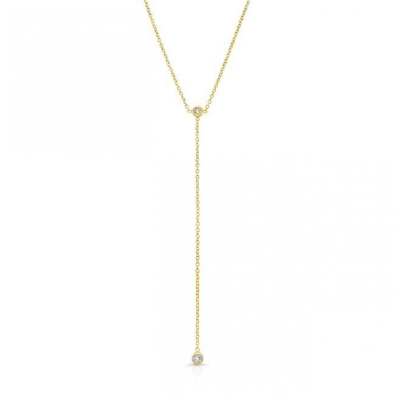 14k Yellow Gold Diamond Bezel Lariat Necklace