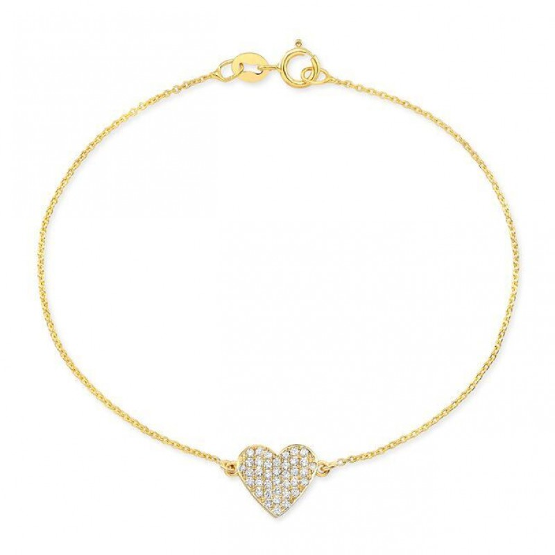 14k Yellow Gold Diamond Floating Heart Bracelet