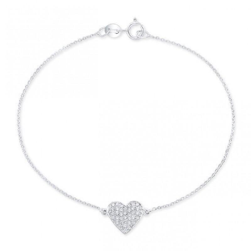14k White Gold Diamond Floating Heart Bracelet