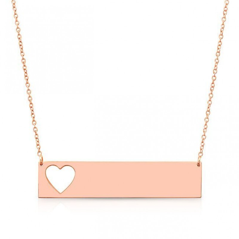 14k Rose Gold Cut Out Heart Nameplate Necklace