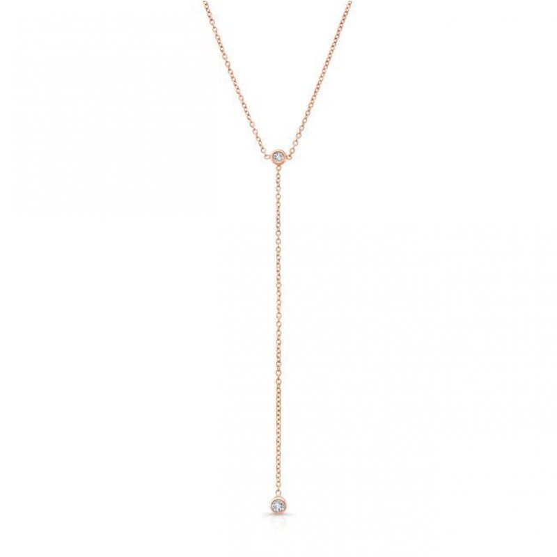 14k Rose Gold Diamond Bezel Lariat Necklace
