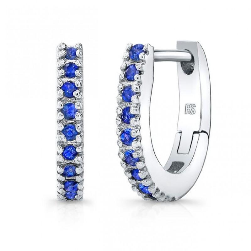 14K White Gold Blue Sapphire Huggie Hoops