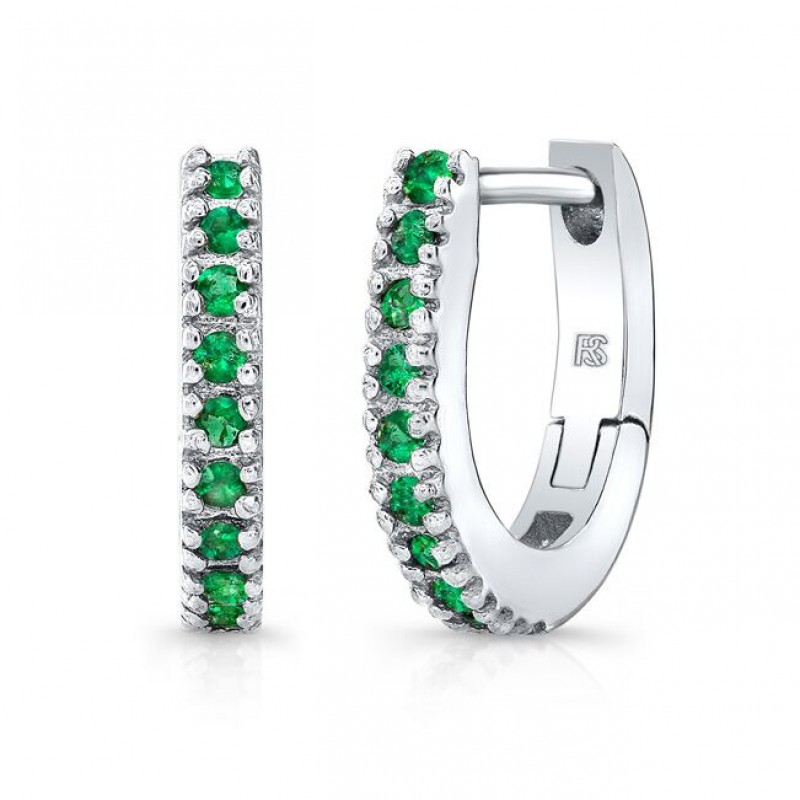 14K White Gold Emerald Huggie Hoops