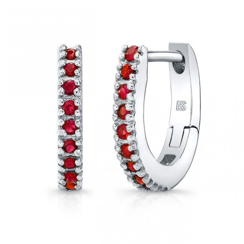 14K White Gold Ruby Huggie Hoops