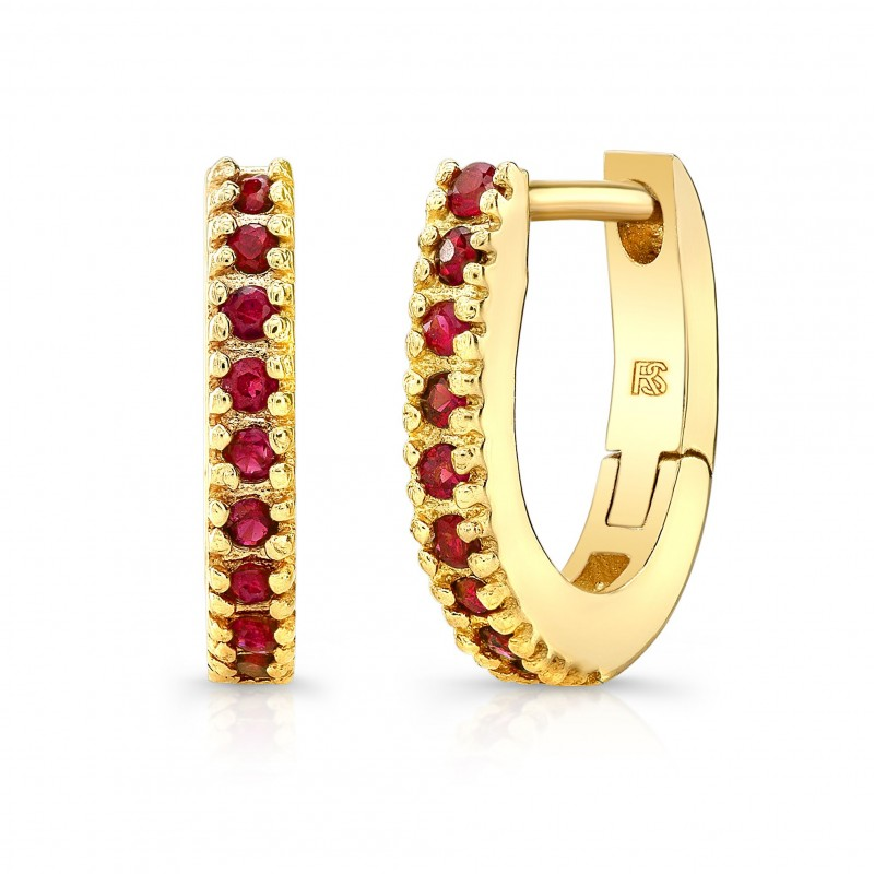 14K Yellow Gold Ruby Huggie Hoops
