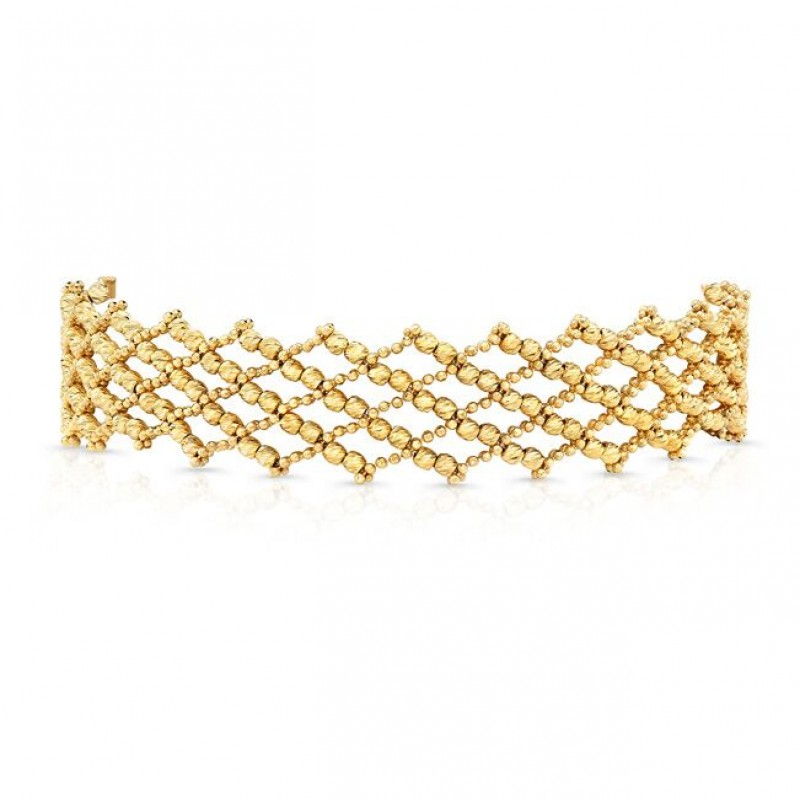 14k Yellow Gold Diamond Cut Crosshatch Choker