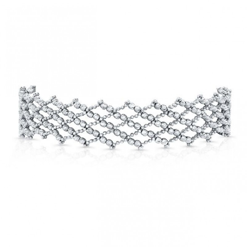 14k White Gold Diamond Cut Crosshatch Choker