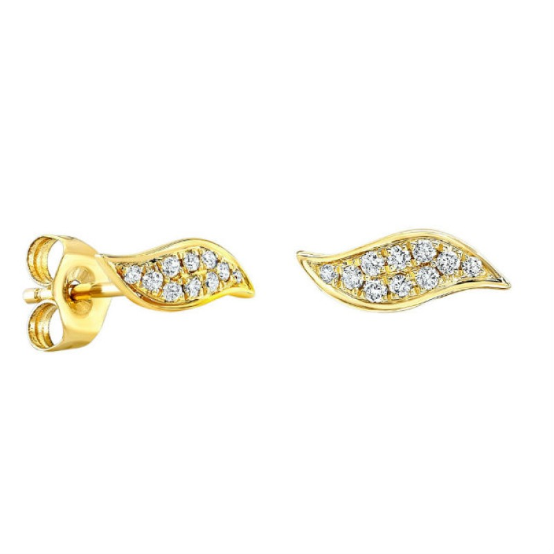 14k Yellow Gold Diamond Wave Stud Earrings