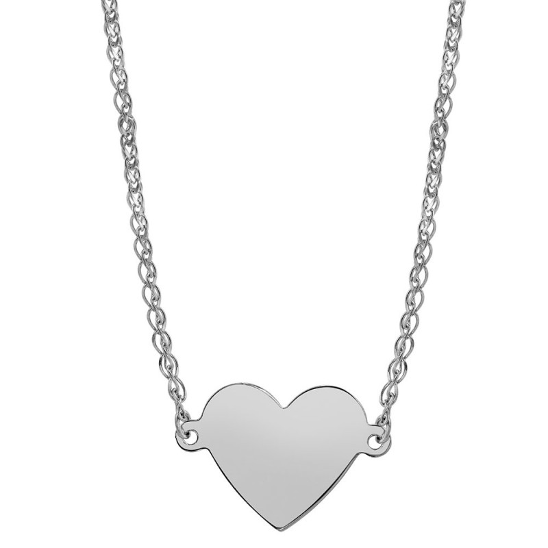 14k White Gold Floating Heart Necklace