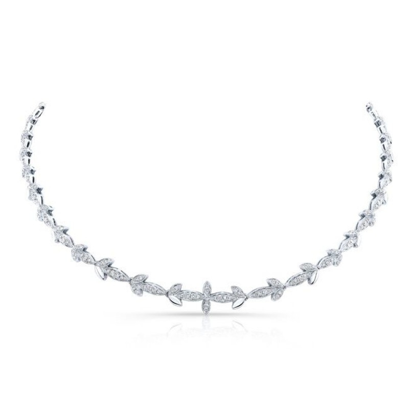 14k White Gold Diamond Leaf Necklace