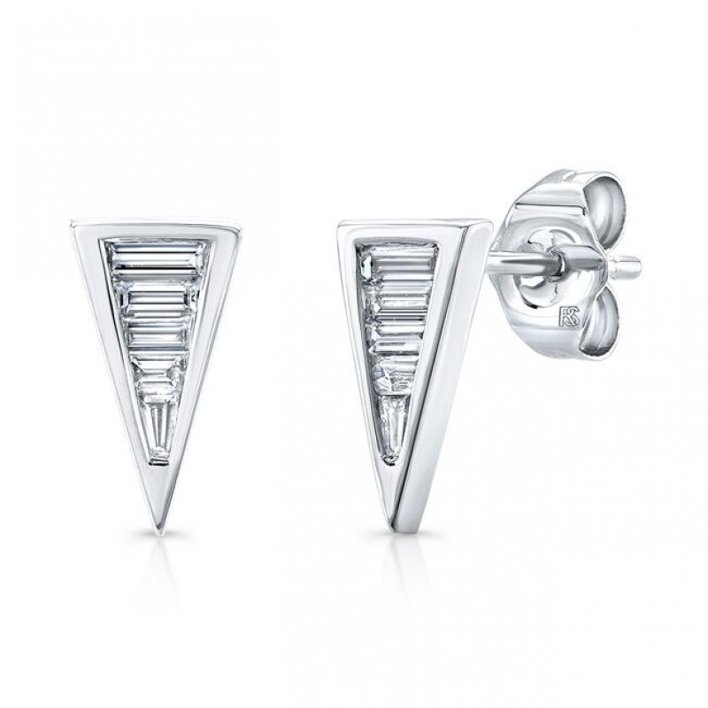 14k White Gold Diamond Baguette Triangle Stud Earrings