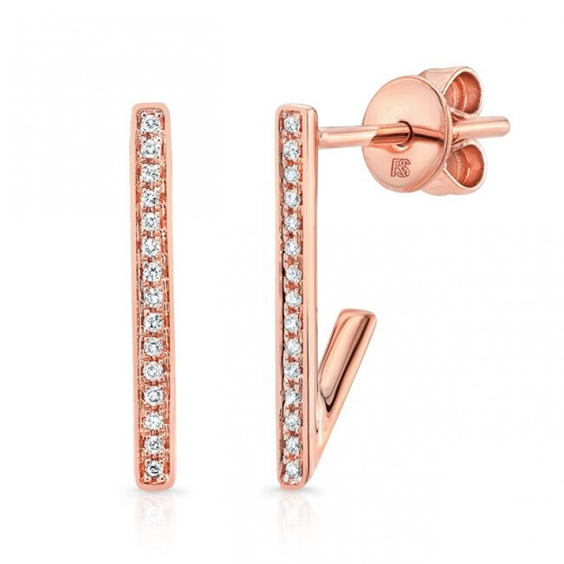 14K Rose Gold Diamond Huggie Bar Earrings
