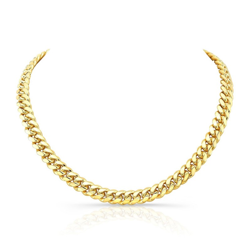 14k Yellow Gold Solid Miami Cuban Link Necklace
