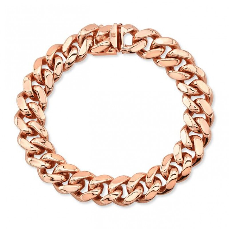 14k Rose Solid Gold Cuban Link Bracelet