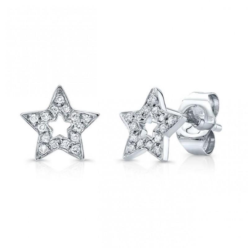 14k White Gold Diamond Cut Out Star Stud Earrings