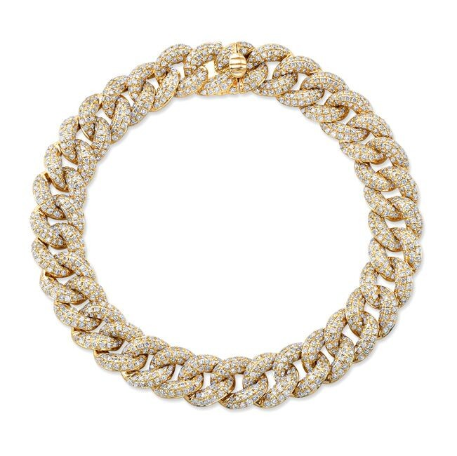 14k Yellow Gold Pave Diamond Cuban Link Bracelet
