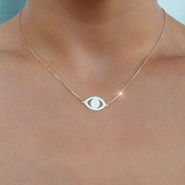 14k Rose Gold Evil Eye Necklace