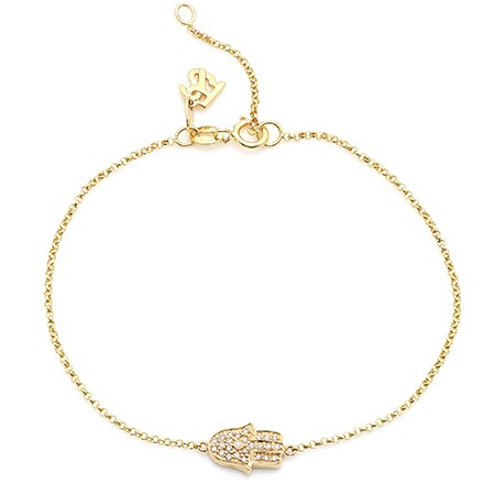 14k Yellow Gold Diamond Hamsa Hand Bracelet