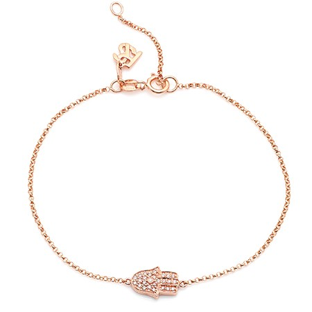 14k Rose Gold Diamond Hamsa Hand of Fatima Bracelet