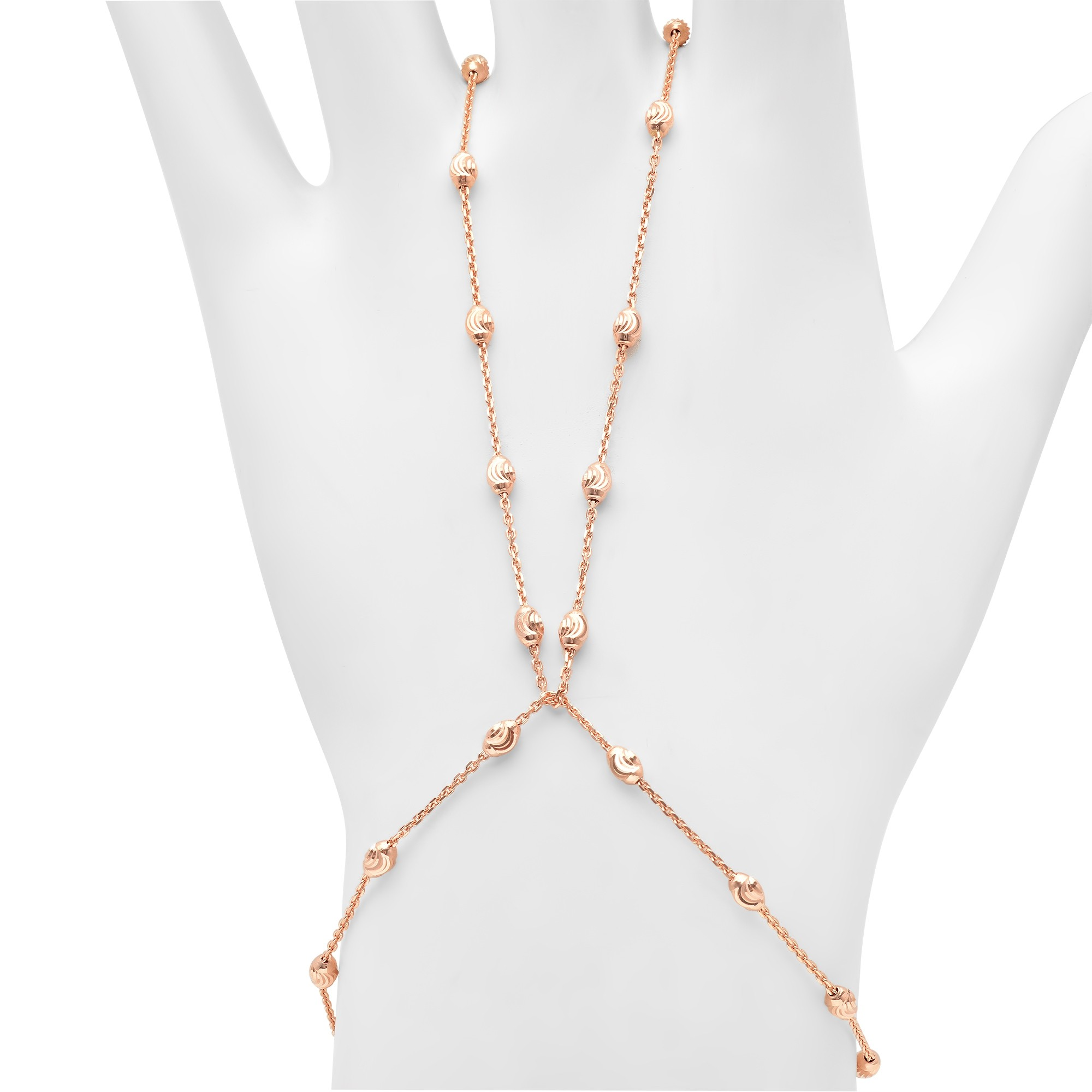 14k Rose Gold Diamond Cut Bead Hand Chain