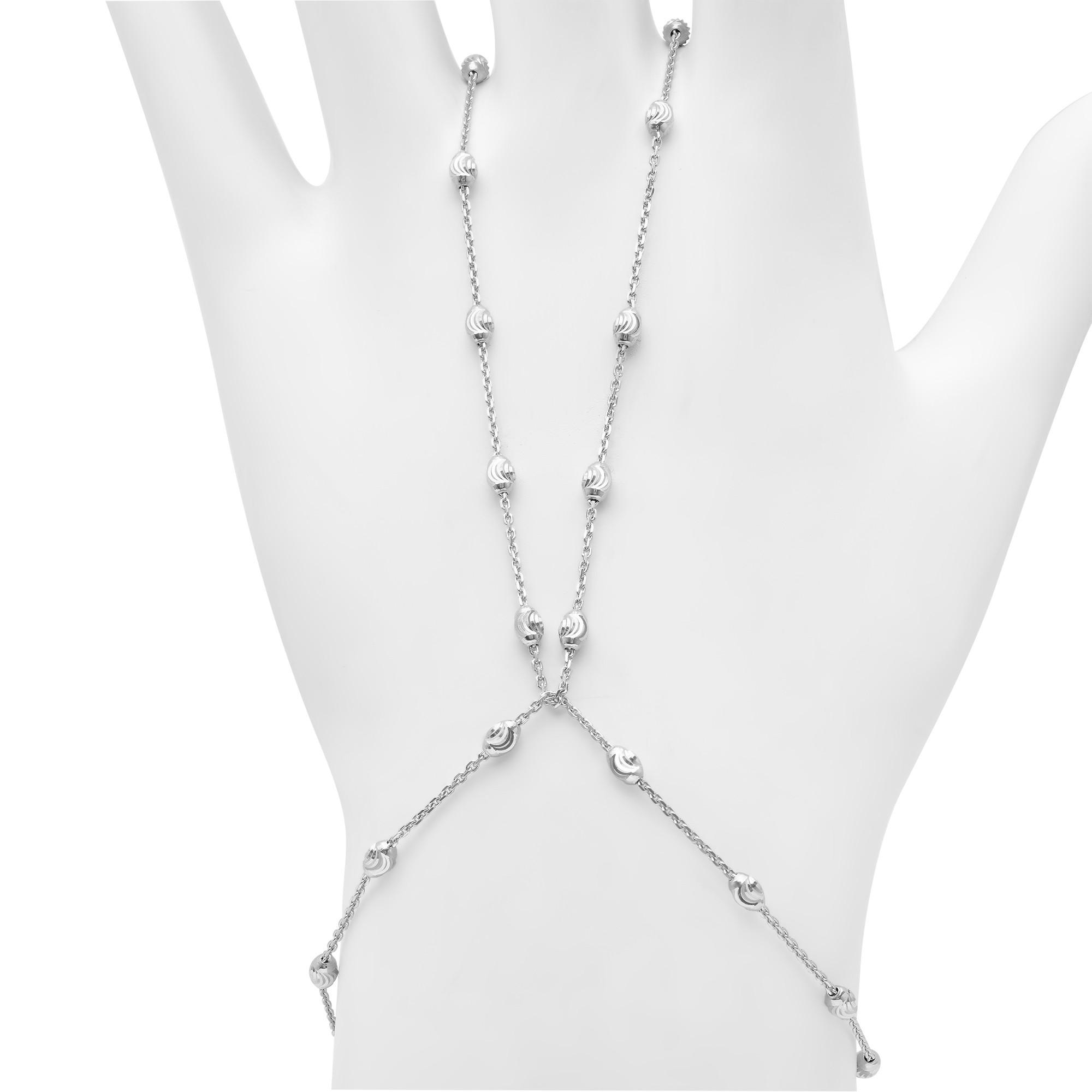 14k White Gold Diamond Cut Bead Hand Chain