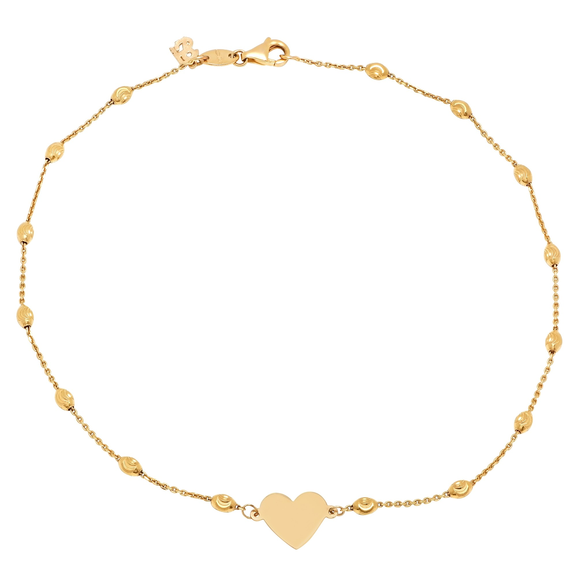 14k Yellow Gold Floating Heart Beaded Chain Anklet